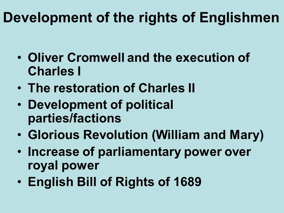 Development of the rights of Englishmen