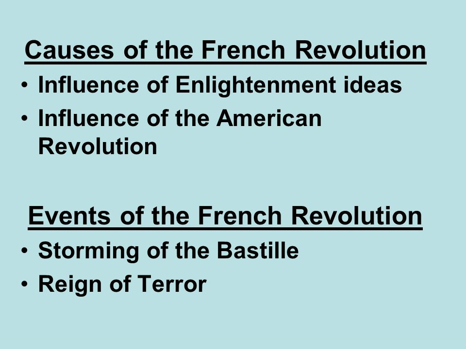 Causes of the French Revolution Events of the French Revolution