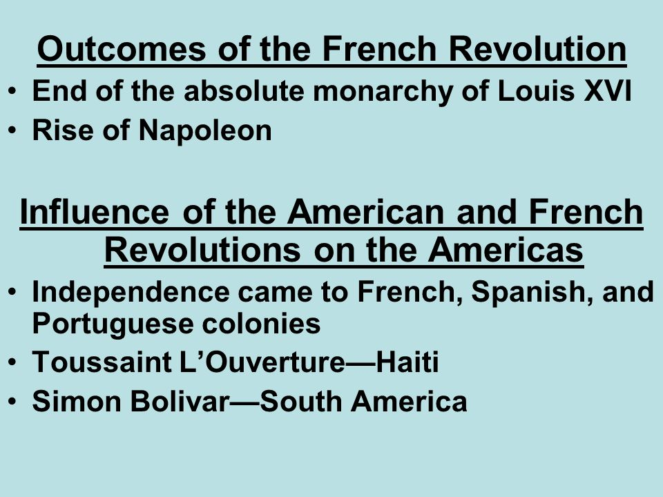 Outcomes of the French Revolution