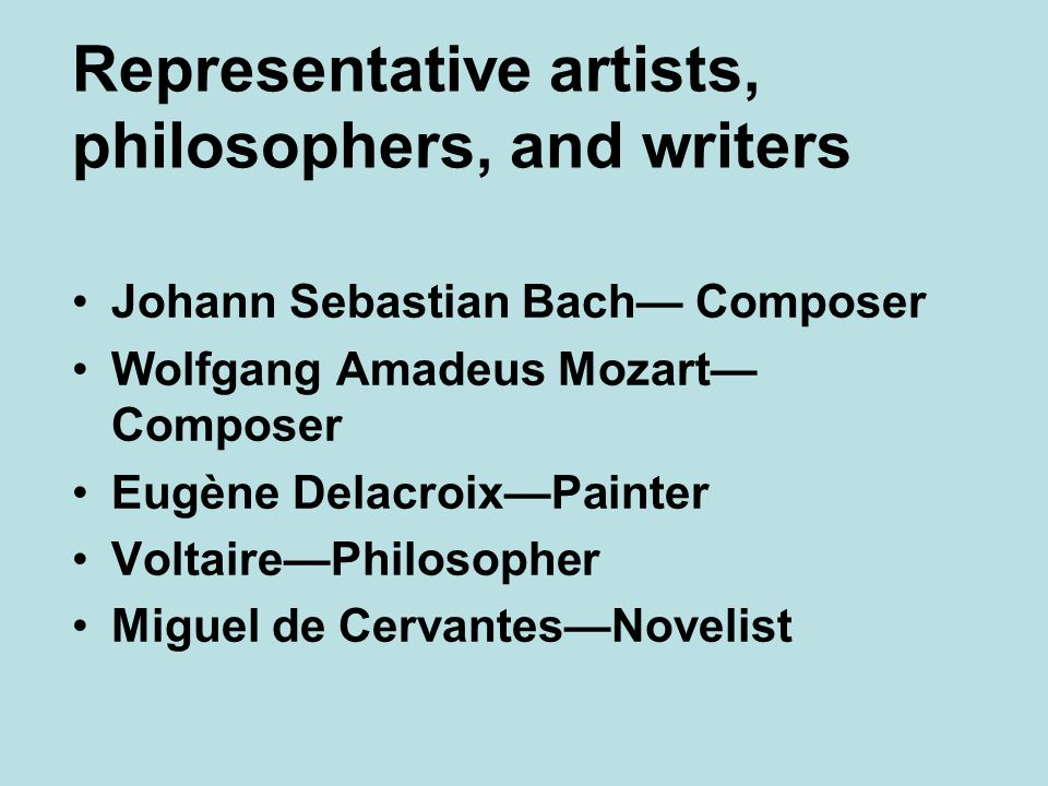 Representative artists, philosophers, and writers