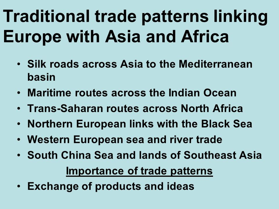Traditional trade patterns linking Europe with Asia and Africa