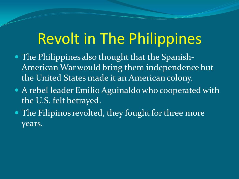 revolts in the philippines The filipino revolts were caused by resentment against spanish colonial power and by the spread of revolutionary ideas from europe in the wake of the building of the suez canal these and other factors contributed to the outbreak of several subsequent revolutions in the 19th century which finally .