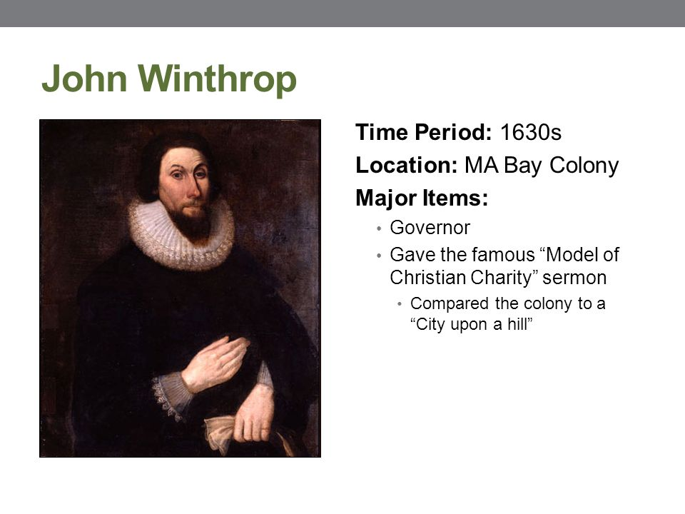 analysis of john winthrop s sermon a model of christian charity 1630 Essay on john winthrop  the a model of christian charity sermon is based on  he gives this sermon aboard the arbella in 1630 john winthrop began his and his.
