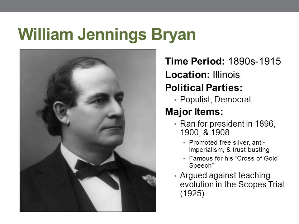 william jennings bryans speech imperialism Genealogy for sec'y of state william jennings bryan (1860 - 1925) family tree on geni, with over 180 million profiles of ancestors and living relatives bryan gave a speech at the democratic national convention in 1900 called the paralyzing influence of imperialism in this speech he discusses his.