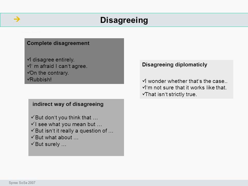 Disagreeing  indirect way of disagreeing Complete disagreement