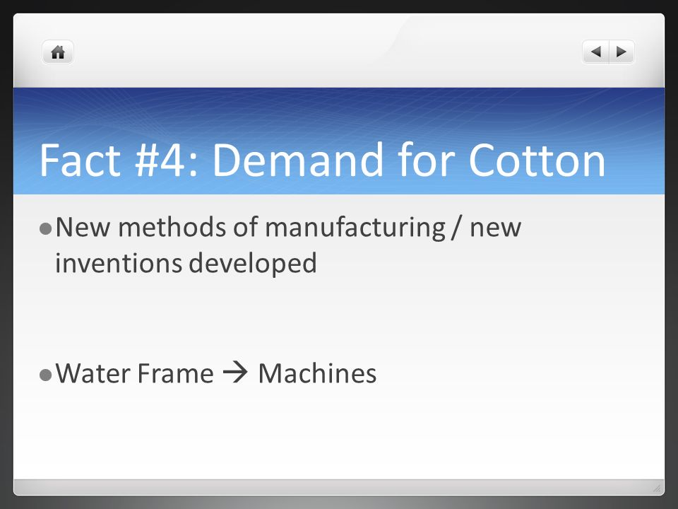 Fact #4: Demand for Cotton