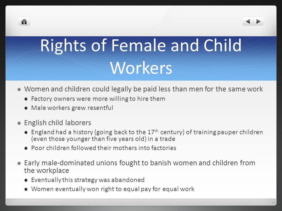 Rights of Female and Child Workers