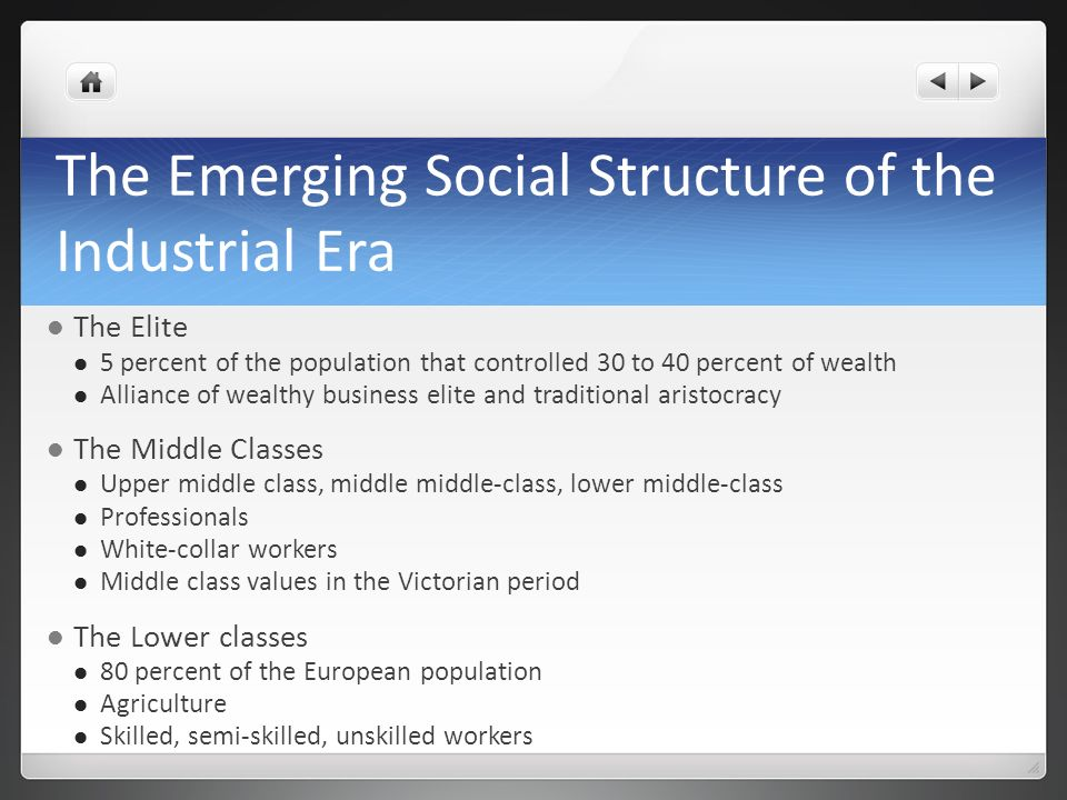 The Emerging Social Structure of the Industrial Era