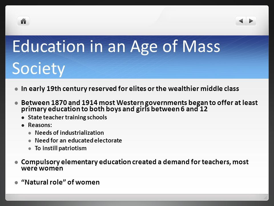 Education in an Age of Mass Society