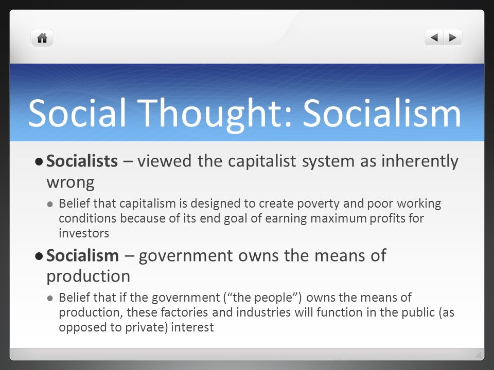 Social Thought: Socialism