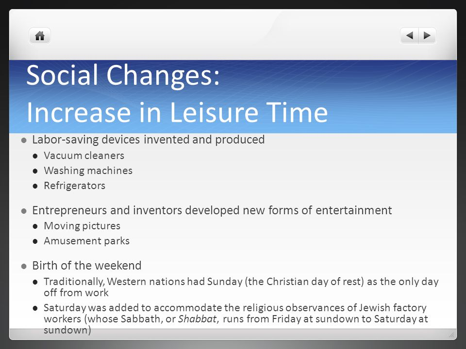 Social Changes: Increase in Leisure Time