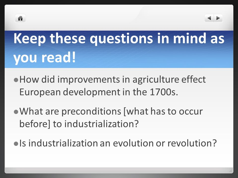 Keep these questions in mind as you read!