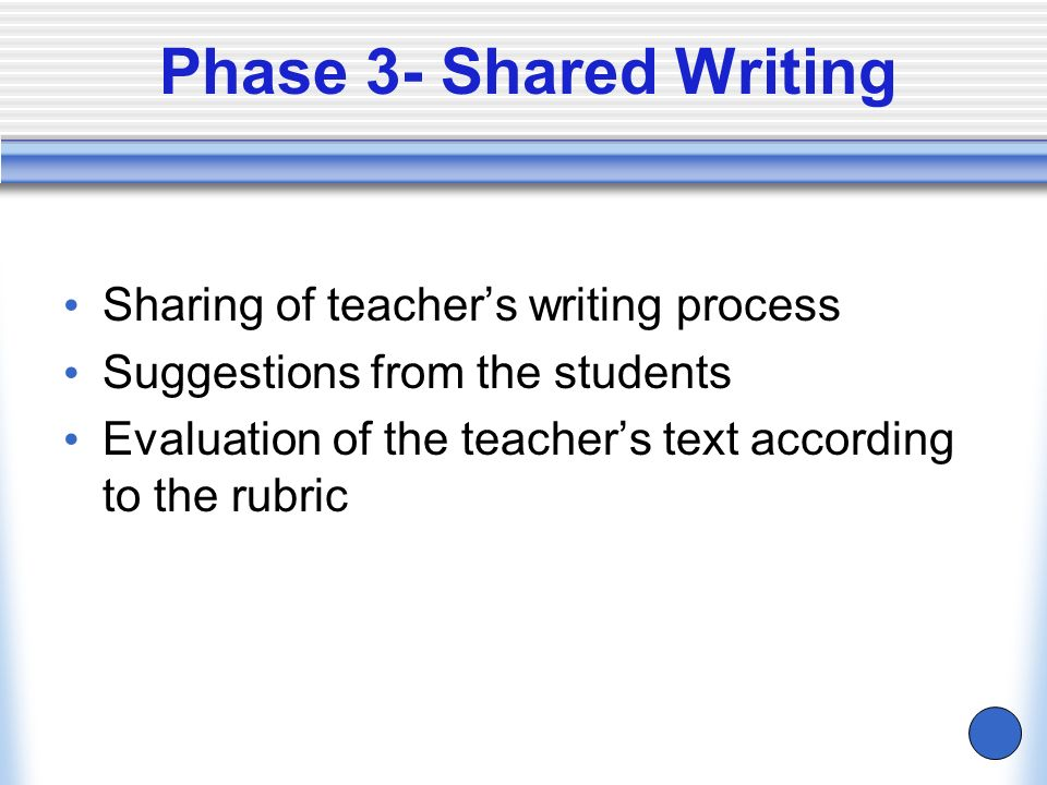 Phase 3- Shared Writing Sharing of teacher's writing process