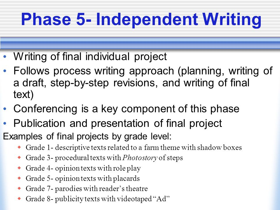 Phase 5- Independent Writing