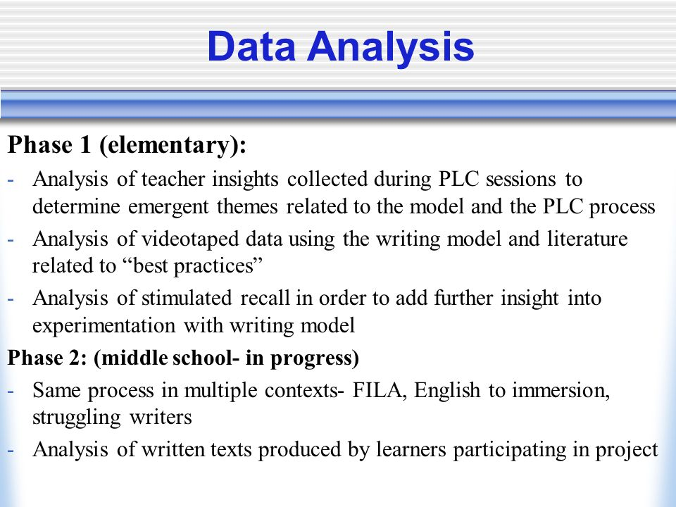 Data Analysis Phase 1 (elementary):