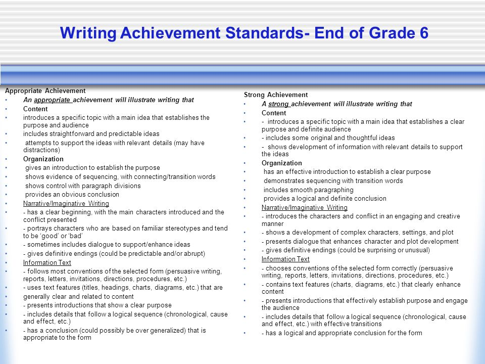 Writing Achievement Standards- End of Grade 6