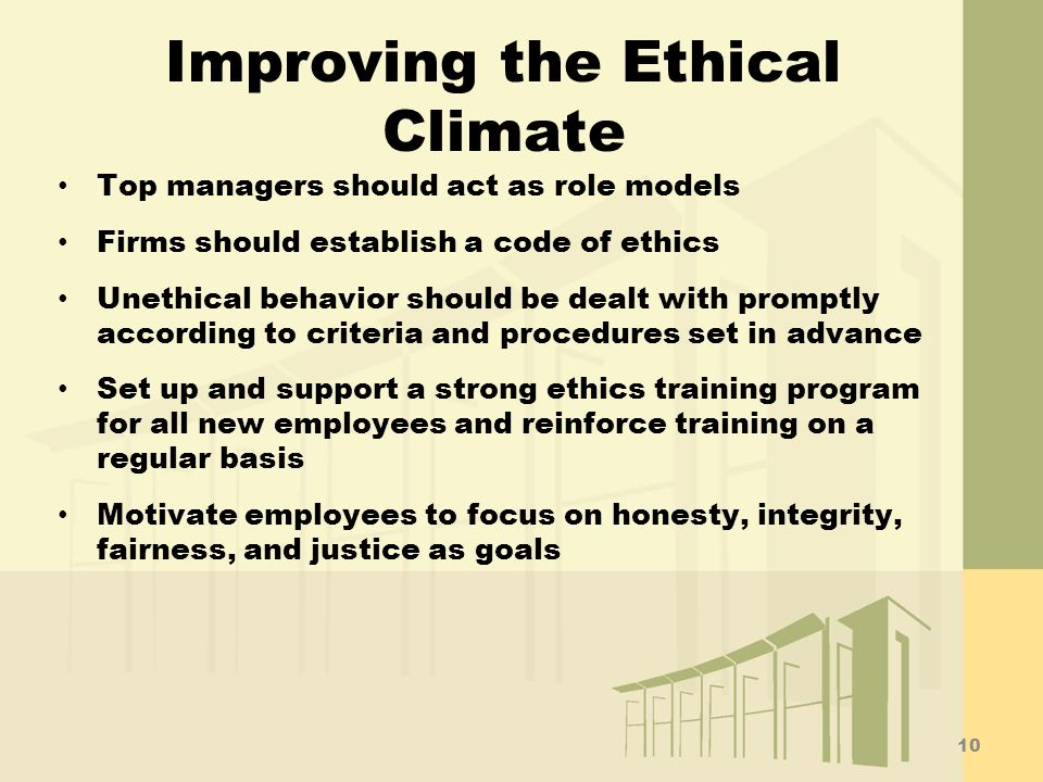 Improving the Ethical Climate