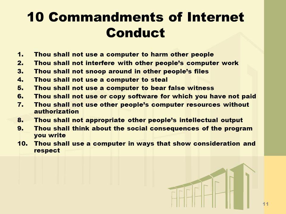 10 Commandments of Internet Conduct