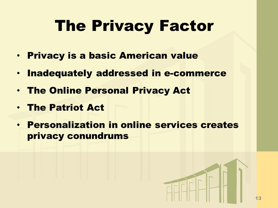The Privacy Factor Privacy is a basic American value