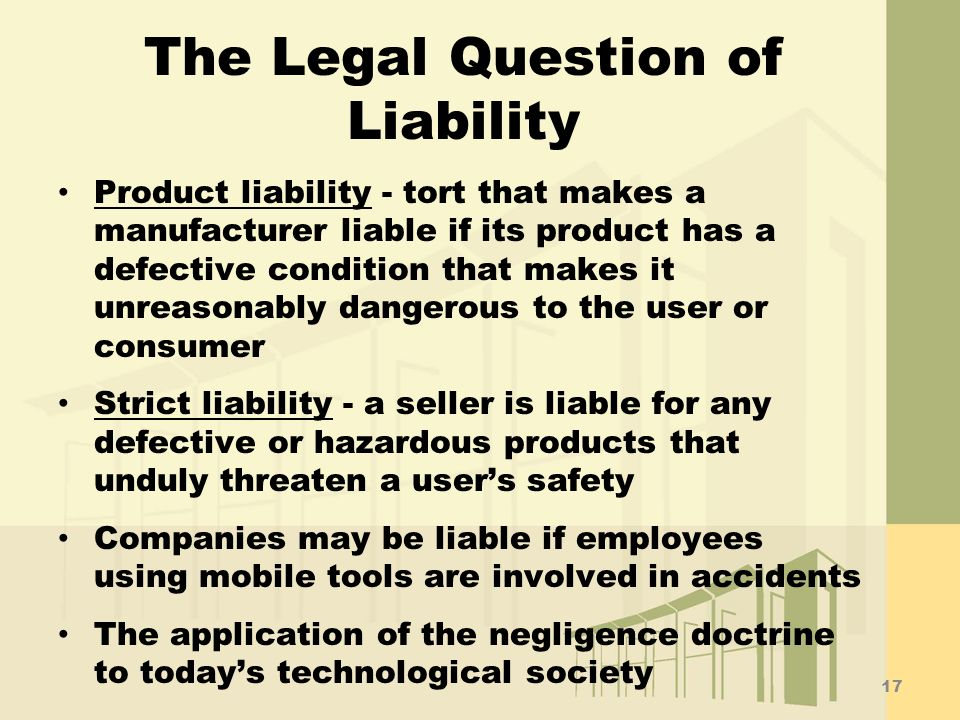 The Legal Question of Liability