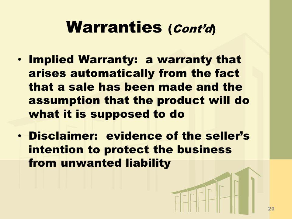 Warranties (Cont'd)