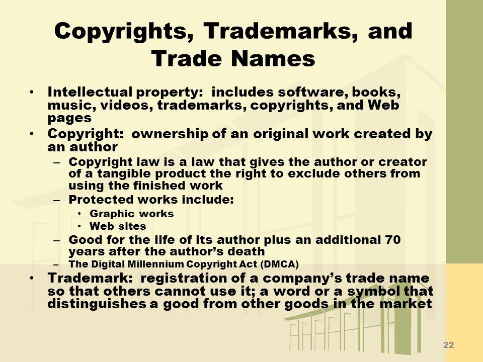 Copyrights, Trademarks, and Trade Names