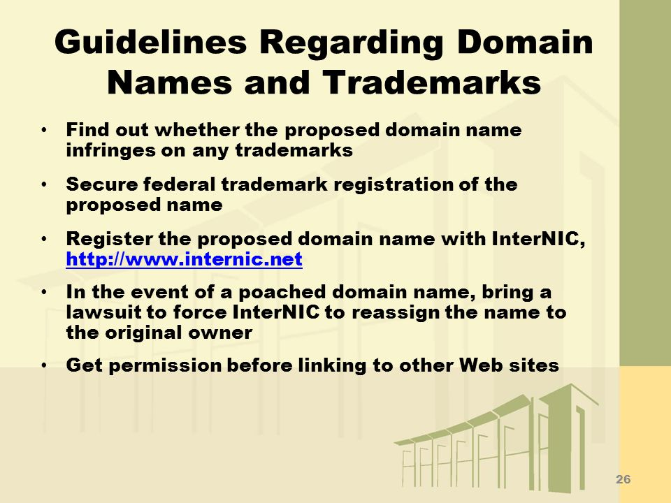Guidelines Regarding Domain Names and Trademarks