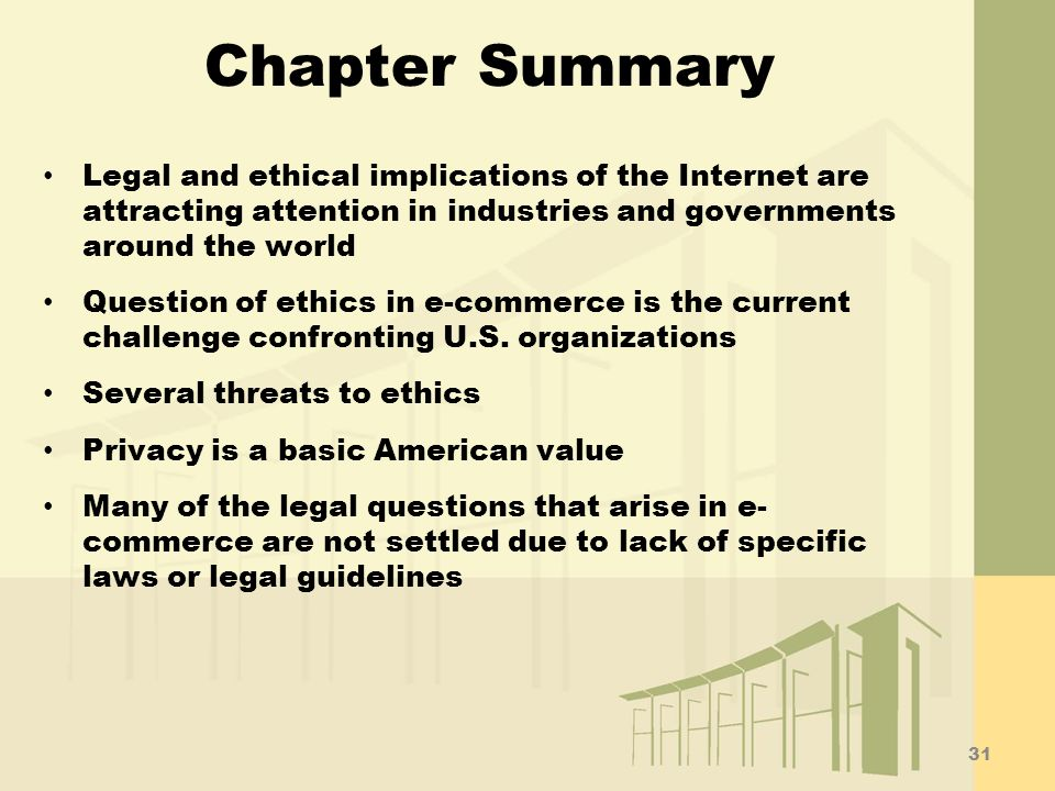 Chapter Summary Legal and ethical implications of the Internet are attracting attention in industries and governments around the world.