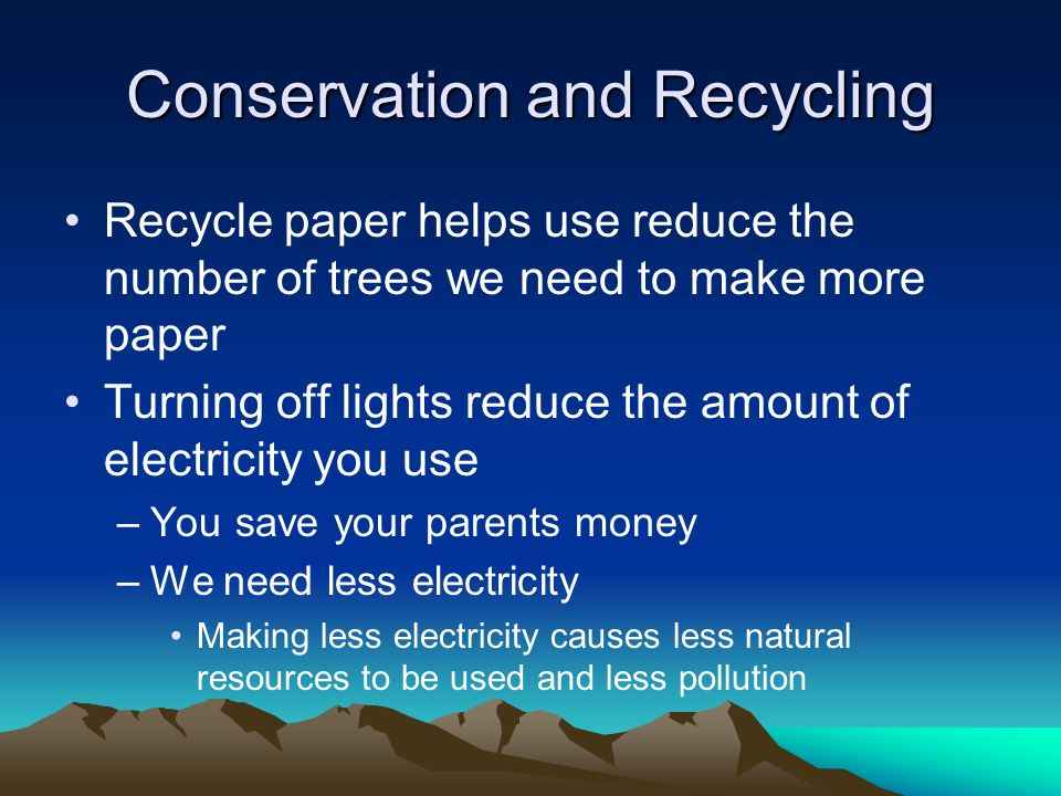 Conservation recycling essay