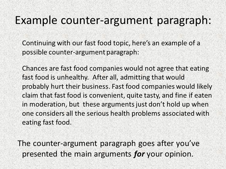 Counter-thesis and counter-argument