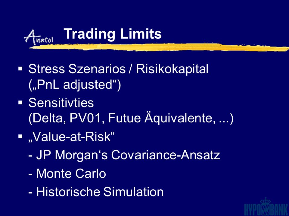 "Trading Limits Stress Szenarios / Risikokapital (""PnL adjusted )"
