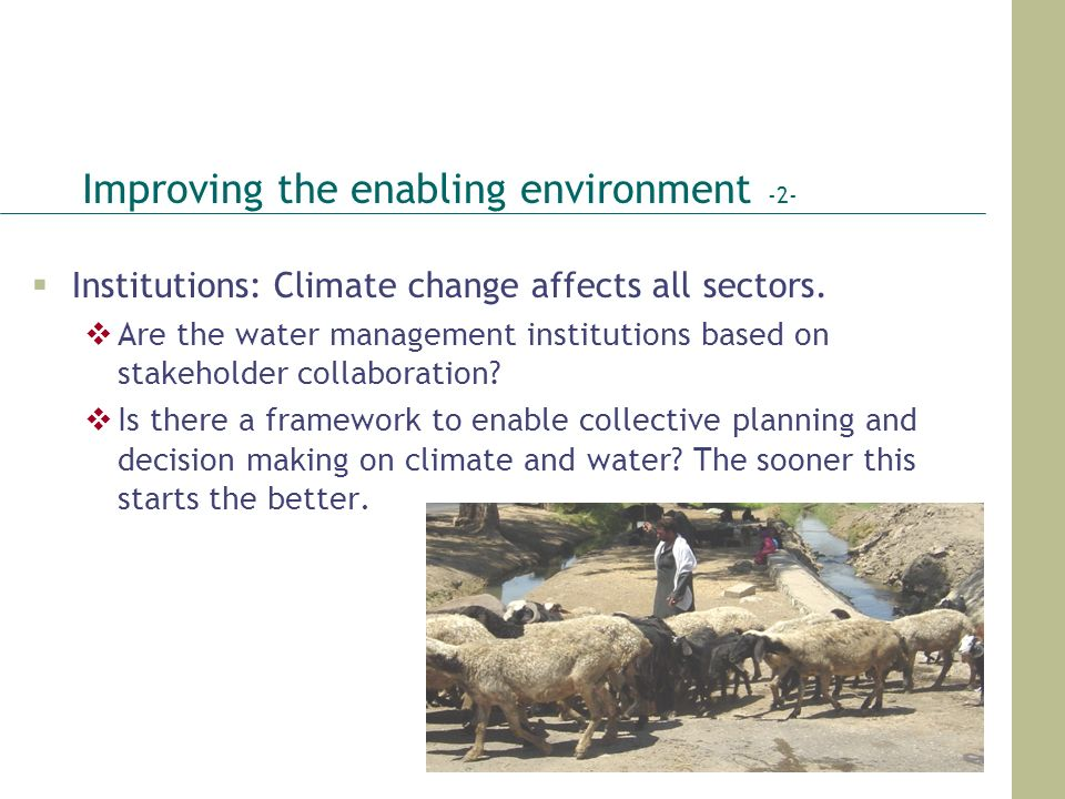 Improving the enabling environment -2-