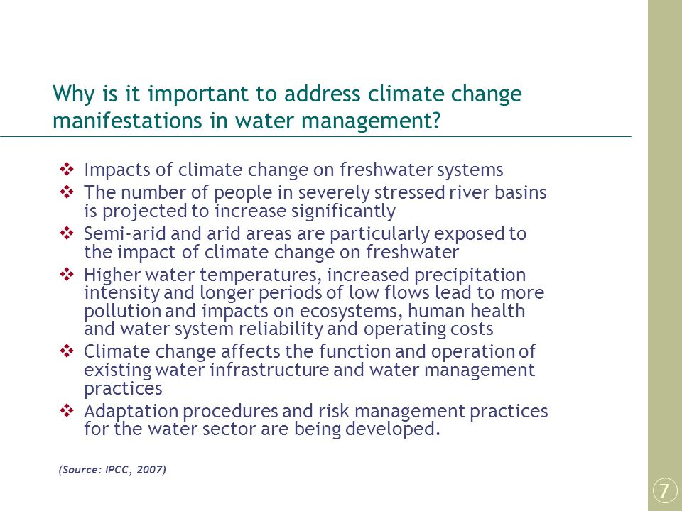 Why is it important to address climate change manifestations in water management