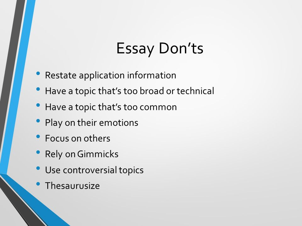 Topics for a reflective essay