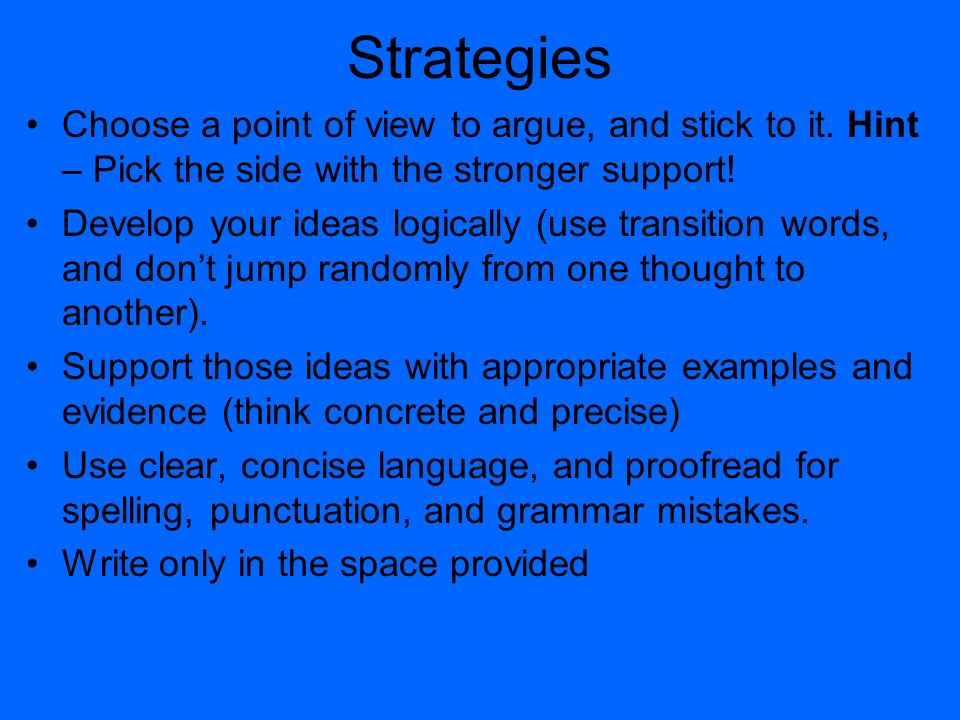 4 strategies - Examples To Use For Sat Essay