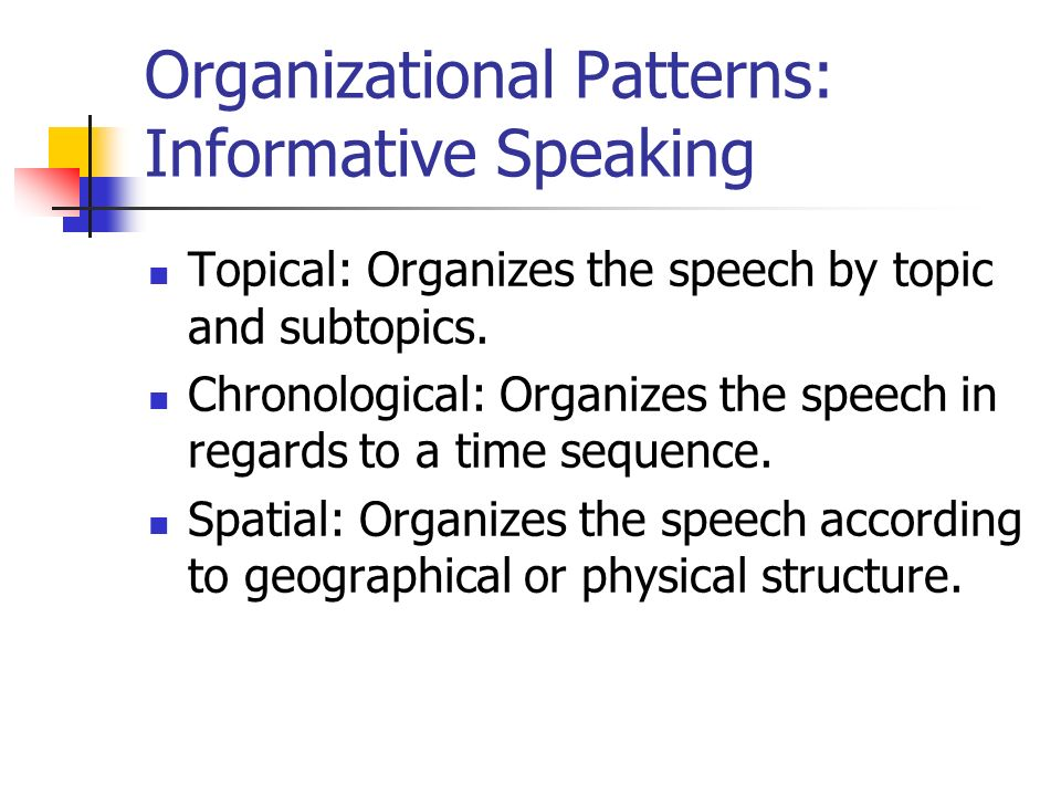 informative patterns Organizational patterns for informative speeches chronological  order specific from comm 2410 at east carolina university.