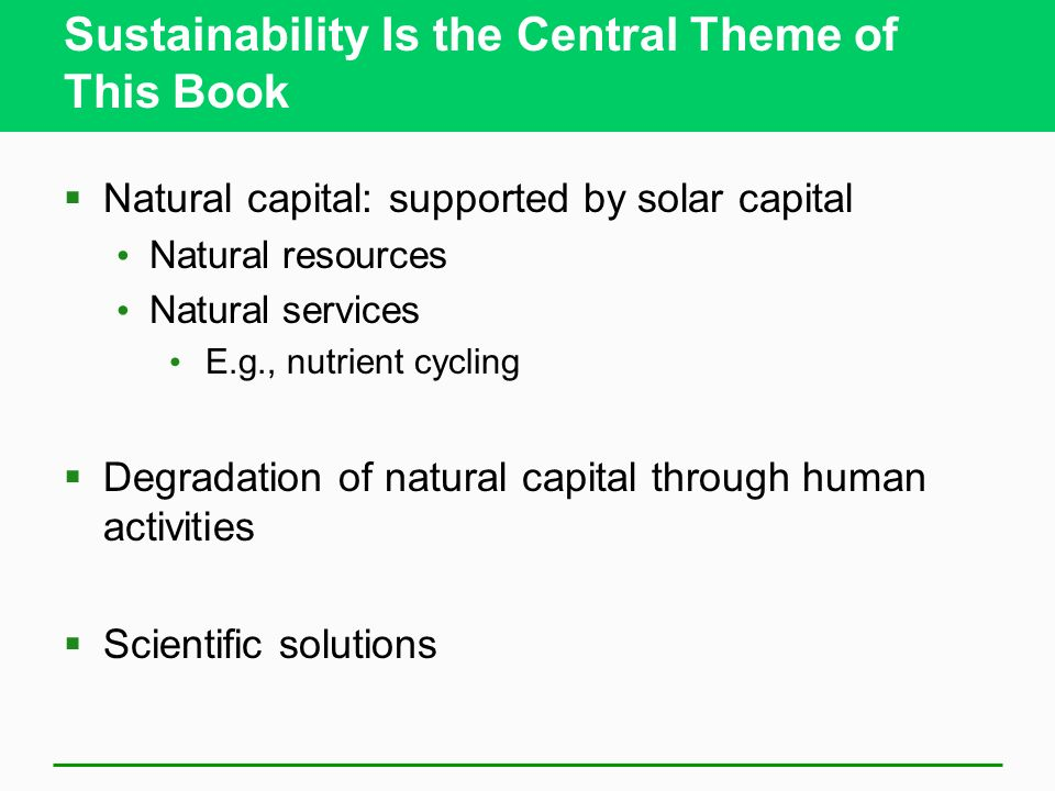 Sustainability Is the Central Theme of This Book