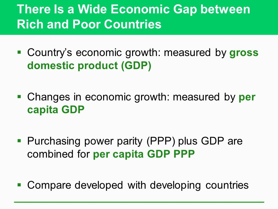 There Is a Wide Economic Gap between Rich and Poor Countries