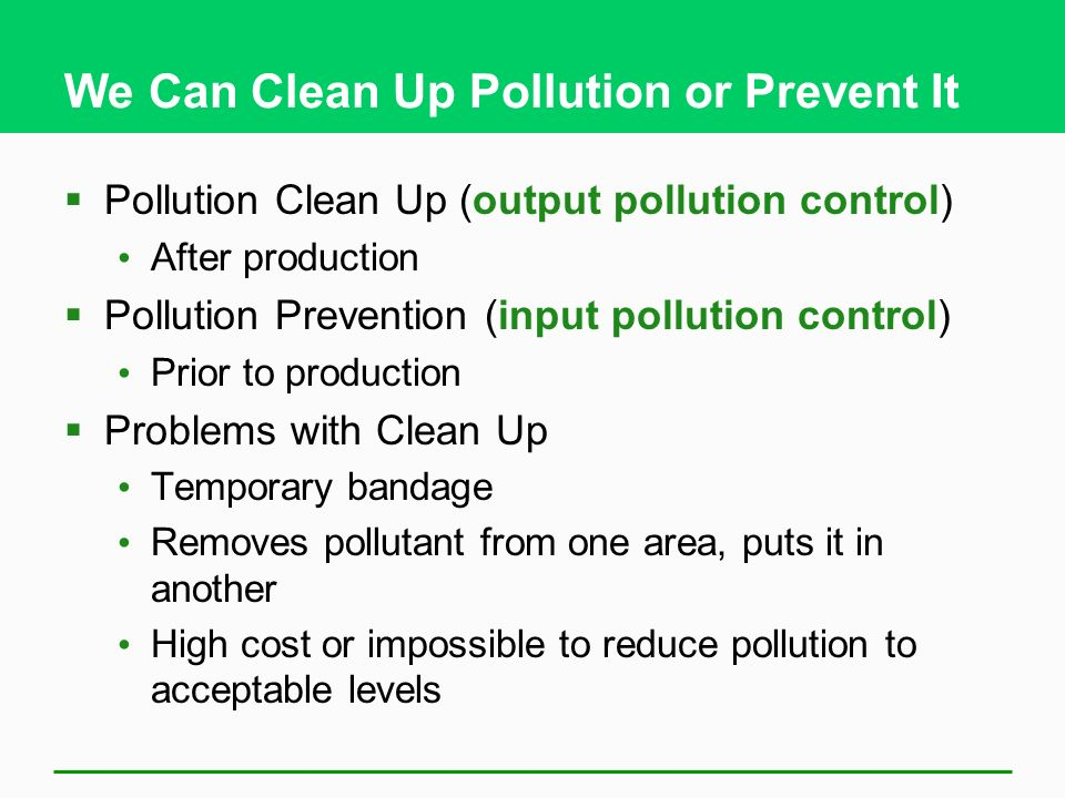 We Can Clean Up Pollution or Prevent It