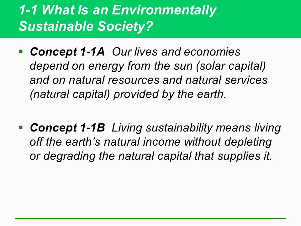 1-1 What Is an Environmentally Sustainable Society