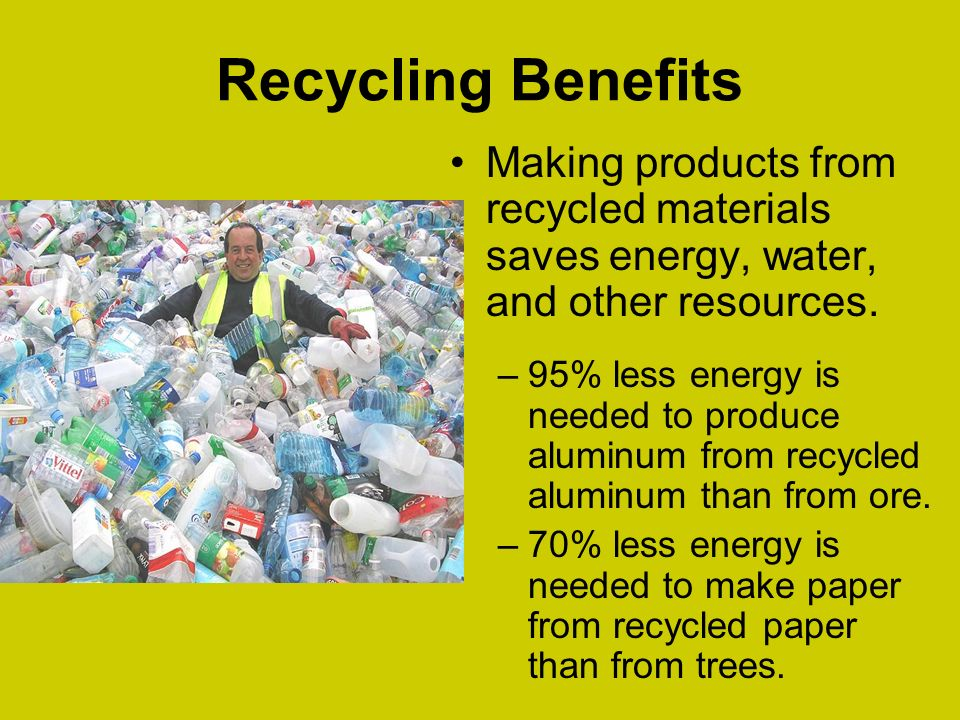 Research the benefits to recycled paper