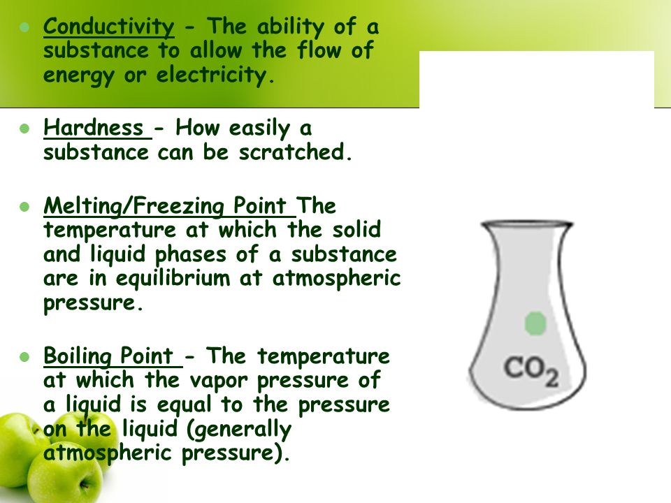 Conductivity - The ability of a substance to allow the flow of energy or electricity.