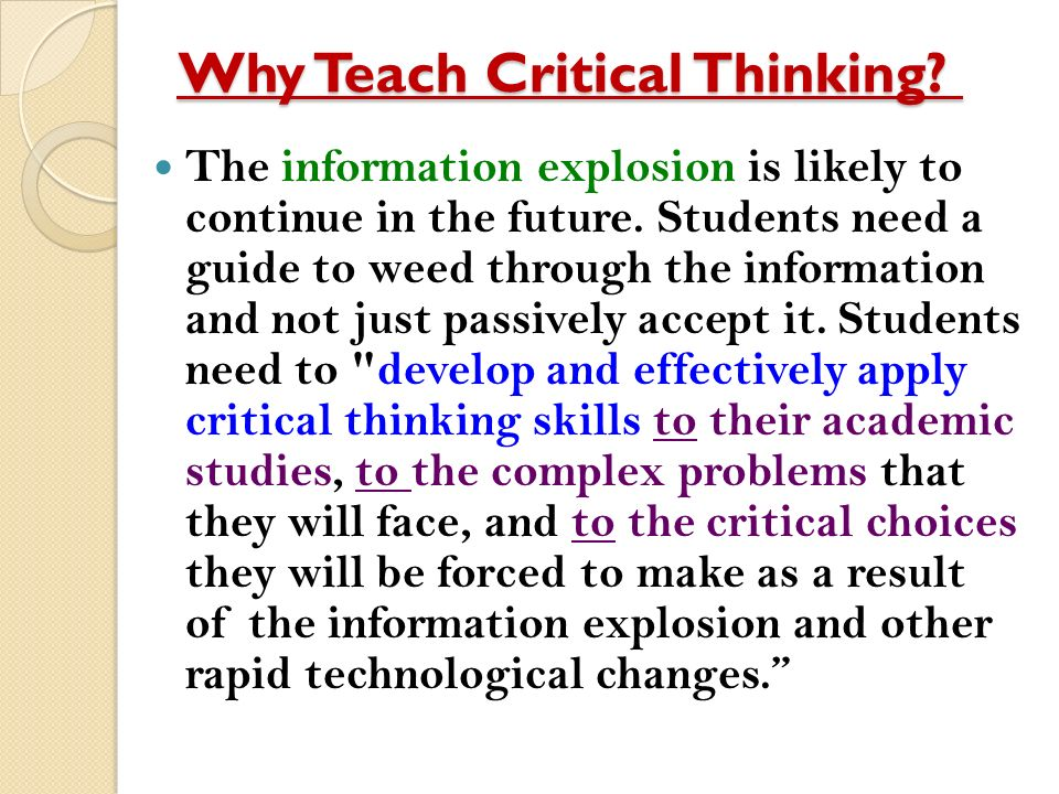 Teaching strategies to help promote critical thinking