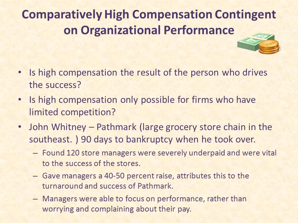 performance contingent pay In a pfp or response-based pay system, employees either earn all of their pay based on their own performance or have the opportunity to earn a bonus for above average performance pay and bonuses are contingent on the amount or quality of the employee's work.