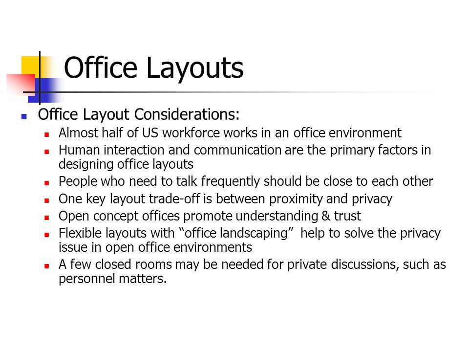 Chapter 10 facility layout ppt video online download for Office design considerations