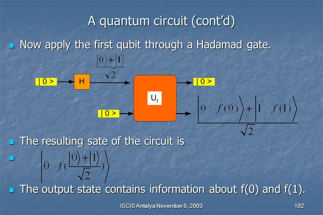 A quantum circuit (cont'd)