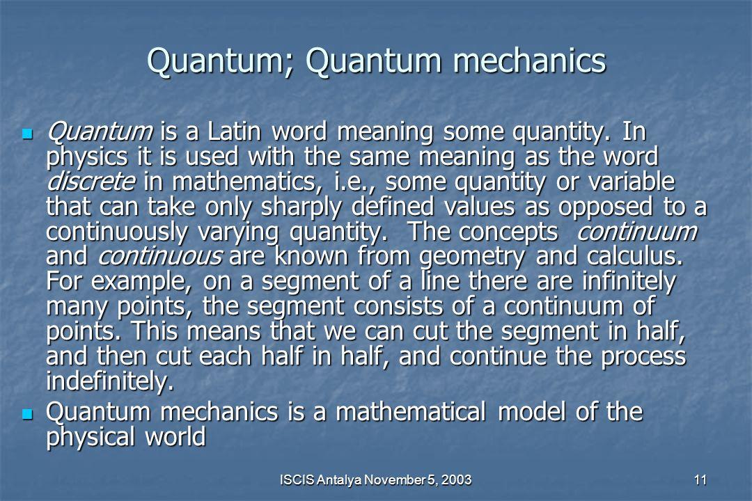 Quantum; Quantum mechanics
