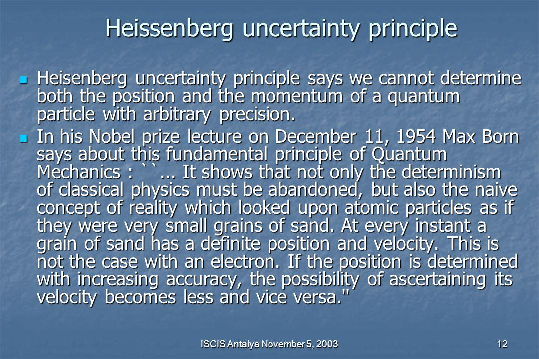 Heissenberg uncertainty principle