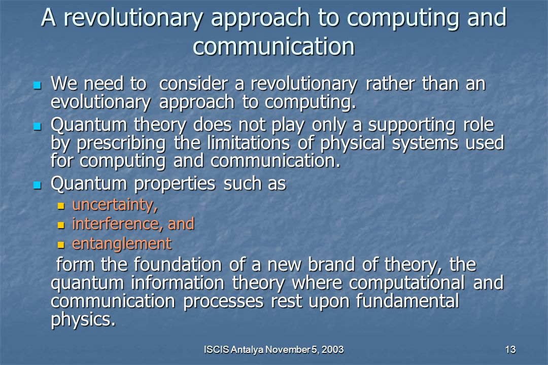 A revolutionary approach to computing and communication