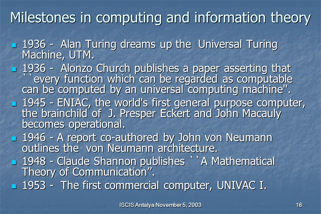 Milestones in computing and information theory